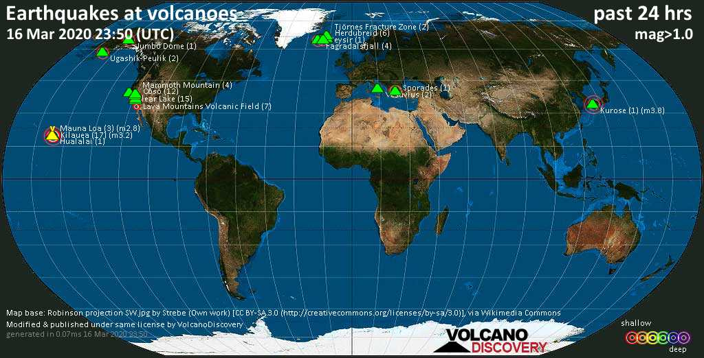 World map showing volcanoes with shallow (less than 20 km) earthquakes within 20 km radius  during the past 24 hours on 16 Mar 2020 Number in brackets indicate nr of quakes.