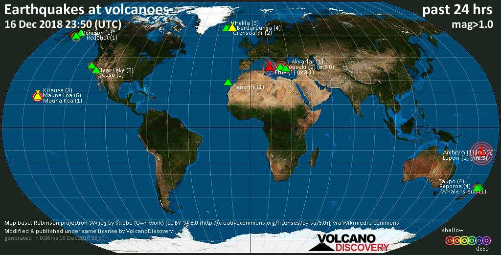 World map showing volcanoes with shallow (less than 20 km) earthquakes within 20 km radius  during the past 24 hours on 16 Dec 2018 Number in brackets indicate nr of quakes.