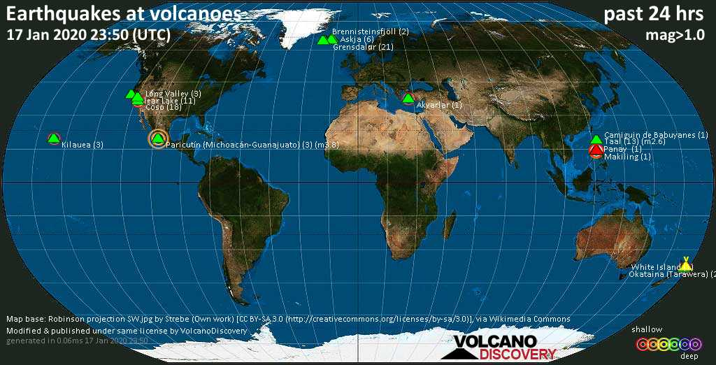 World map showing volcanoes with shallow (less than 20 km) earthquakes within 20 km radius  during the past 24 hours on 17 Jan 2020 Number in brackets indicate nr of quakes.