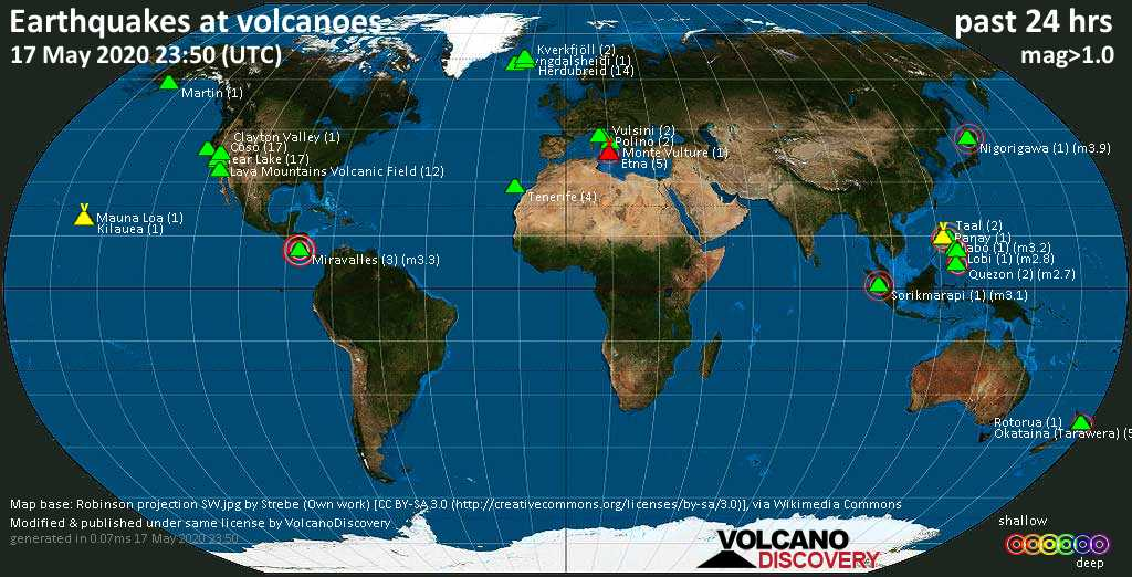 World map showing volcanoes with shallow (less than 20 km) earthquakes within 20 km radius  during the past 24 hours on 17 May 2020 Number in brackets indicate nr of quakes.