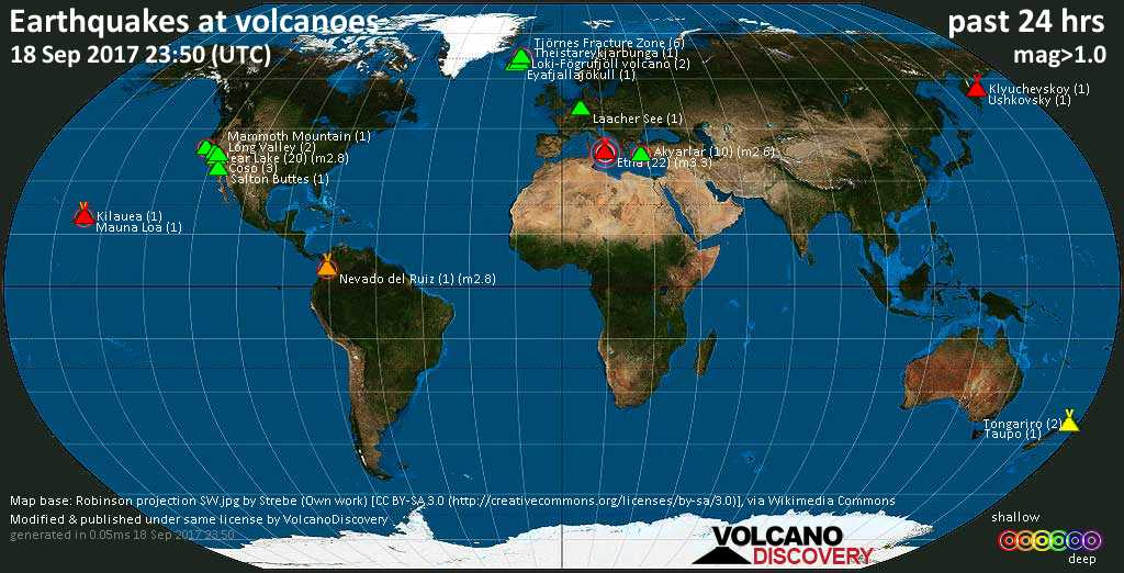 World map showing volcanoes with shallow (less than 20 km) earthquakes within 20 km radius  during the past 24 hours on 18 Sep 2017 Number in brackets indicate nr of quakes.