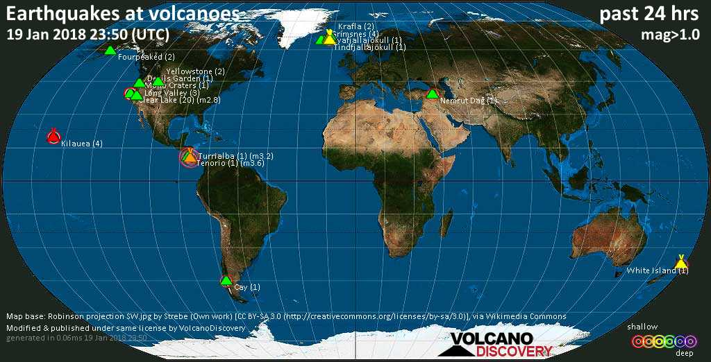 World map showing volcanoes with shallow (less than 20 km) earthquakes within 20 km radius  during the past 24 hours on 19 Jan 2018 Number in brackets indicate nr of quakes.