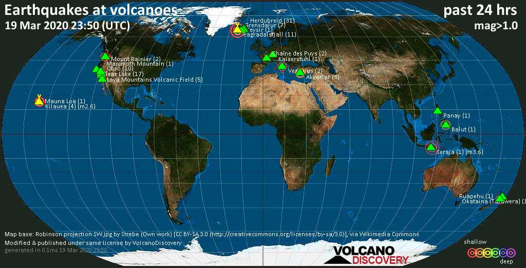 World map showing volcanoes with shallow (less than 20 km) earthquakes within 20 km radius  during the past 24 hours on 19 Mar 2020 Number in brackets indicate nr of quakes.