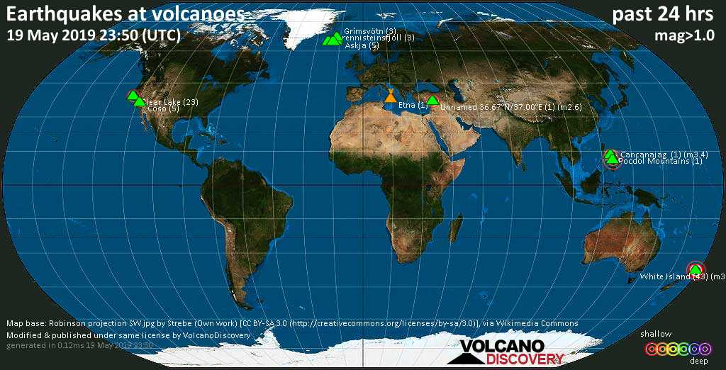 World map showing volcanoes with shallow (less than 20 km) earthquakes within 20 km radius  during the past 24 hours on 19 May 2019 Number in brackets indicate nr of quakes.