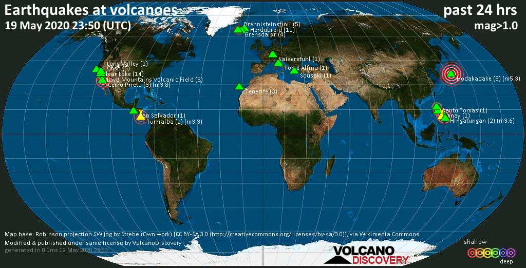 World map showing volcanoes with shallow (less than 20 km) earthquakes within 20 km radius  during the past 24 hours on 19 May 2020 Number in brackets indicate nr of quakes.