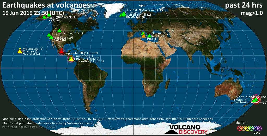 World map showing volcanoes with shallow (less than 20 km) earthquakes within 20 km radius  during the past 24 hours on 19 Jun 2019 Number in brackets indicate nr of quakes.