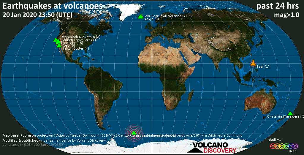 World map showing volcanoes with shallow (less than 20 km) earthquakes within 20 km radius  during the past 24 hours on 20 Jan 2020 Number in brackets indicate nr of quakes.