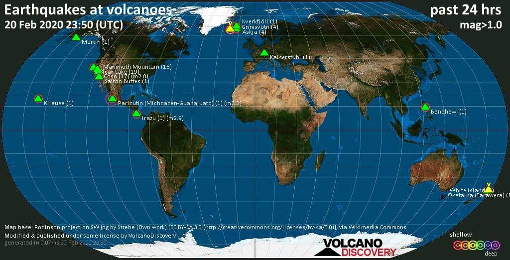 World map showing volcanoes with shallow (less than 20 km) earthquakes within 20 km radius  during the past 24 hours on 20 Feb 2020 Number in brackets indicate nr of quakes.