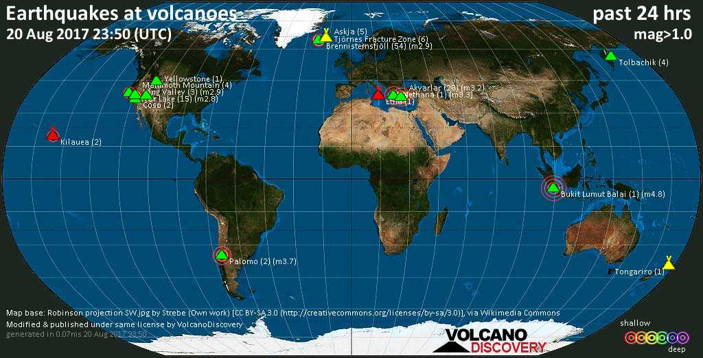 World map showing volcanoes with shallow (less than 20 km) earthquakes within 20 km radius  during the past 24 hours on 20 Aug 2017 Number in brackets indicate nr of quakes.