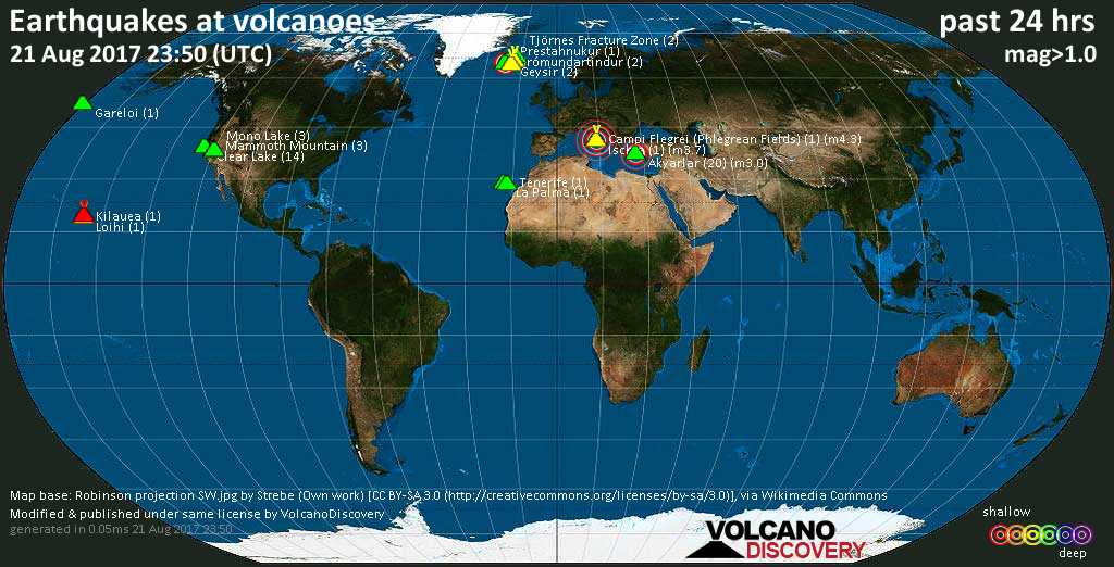 World map showing volcanoes with shallow (less than 20 km) earthquakes within 20 km radius  during the past 24 hours on 21 Aug 2017 Number in brackets indicate nr of quakes.