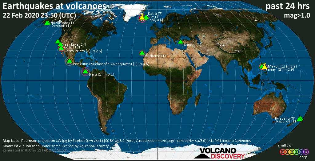 World map showing volcanoes with shallow (less than 20 km) earthquakes within 20 km radius  during the past 24 hours on 22 Feb 2020 Number in brackets indicate nr of quakes.