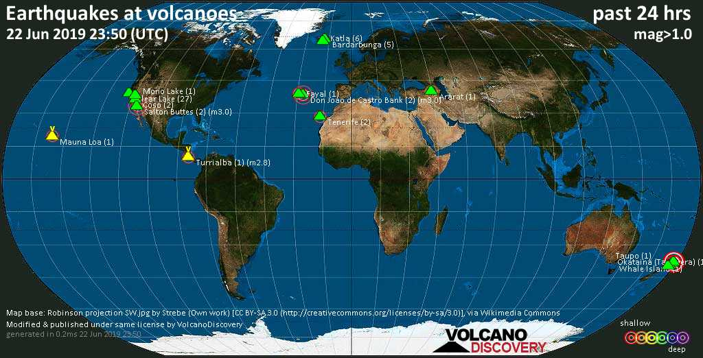 World map showing volcanoes with shallow (less than 20 km) earthquakes within 20 km radius  during the past 24 hours on 22 Jun 2019 Number in brackets indicate nr of quakes.