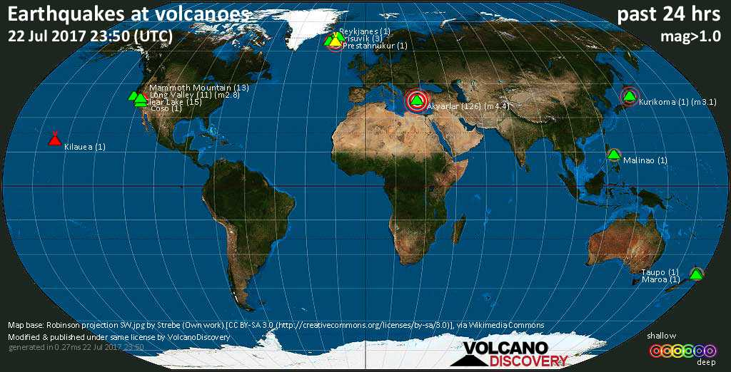 World map showing volcanoes with shallow (less than 20 km) earthquakes within 20 km radius  during the past 24 hours on 22 Jul 2017 Number in brackets indicate nr of quakes.