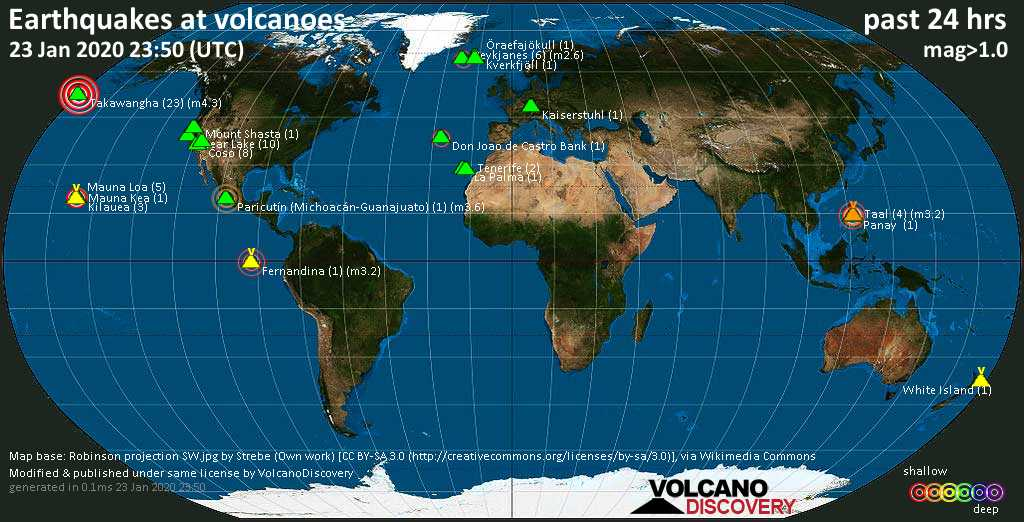 World map showing volcanoes with shallow (less than 20 km) earthquakes within 20 km radius  during the past 24 hours on 23 Jan 2020 Number in brackets indicate nr of quakes.