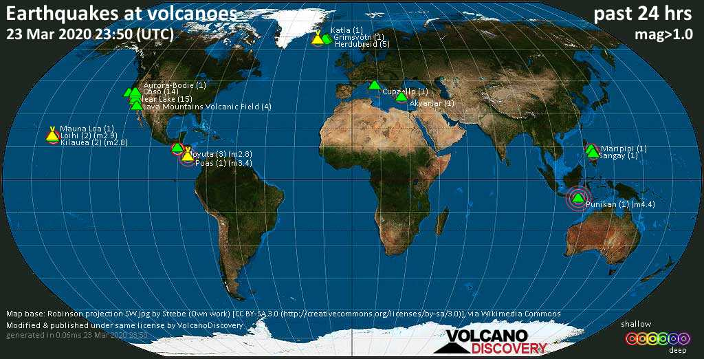 World map showing volcanoes with shallow (less than 20 km) earthquakes within 20 km radius  during the past 24 hours on 23 Mar 2020 Number in brackets indicate nr of quakes.