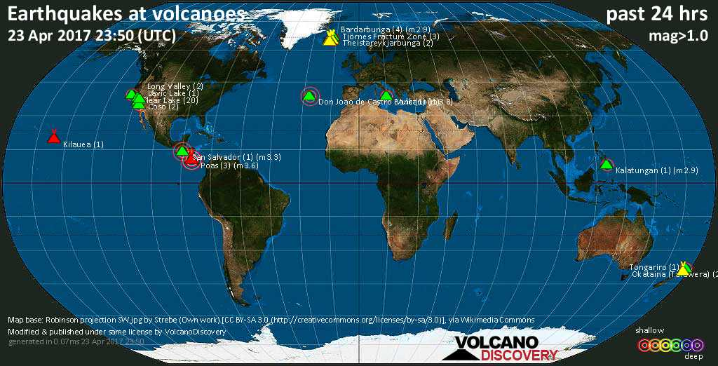 World map showing volcanoes with shallow (less than 20 km) earthquakes within 20 km radius  during the past 24 hours on 23 Apr 2017 Number in brackets indicate nr of quakes.
