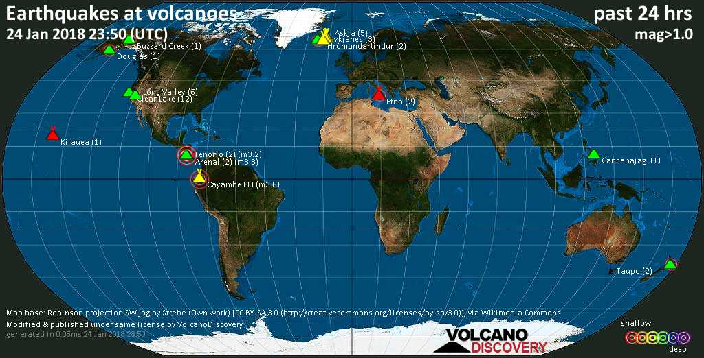 World map showing volcanoes with shallow (less than 20 km) earthquakes within 20 km radius  during the past 24 hours on 24 Jan 2018 Number in brackets indicate nr of quakes.