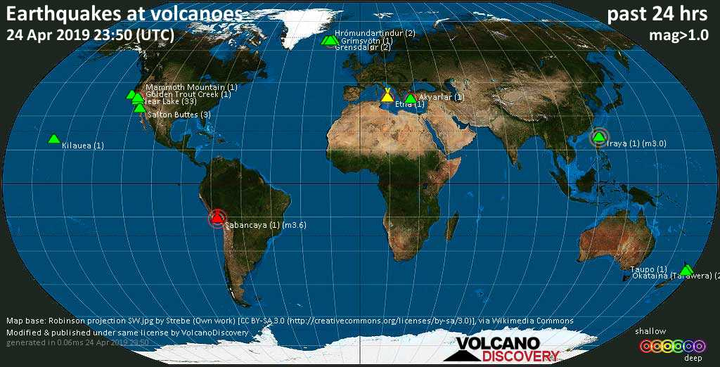 World map showing volcanoes with shallow (less than 20 km) earthquakes within 20 km radius  during the past 24 hours on 24 Apr 2019 Number in brackets indicate nr of quakes.