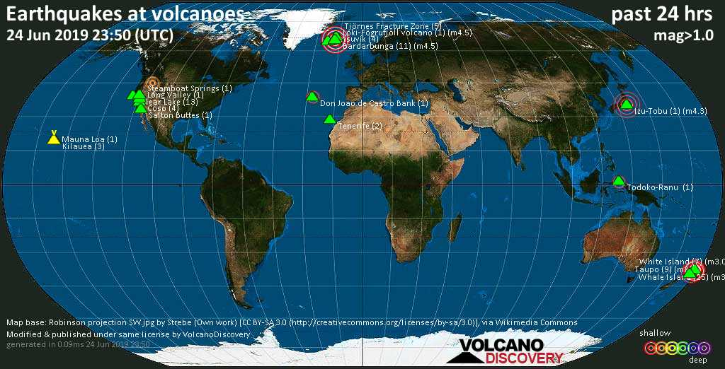 World map showing volcanoes with shallow (less than 20 km) earthquakes within 20 km radius  during the past 24 hours on 24 Jun 2019 Number in brackets indicate nr of quakes.
