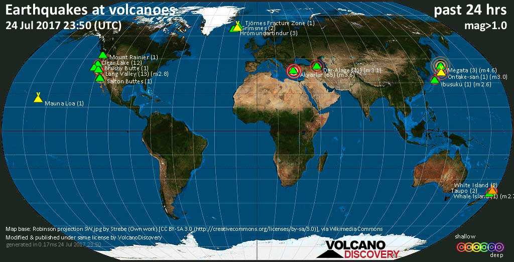 World map showing volcanoes with shallow (less than 20 km) earthquakes within 20 km radius  during the past 24 hours on 24 Jul 2017 Number in brackets indicate nr of quakes.