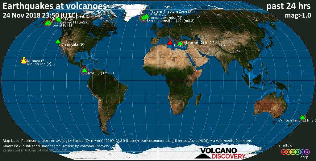 World map showing volcanoes with shallow (less than 20 km) earthquakes within 20 km radius  during the past 24 hours on 24 Nov 2018 Number in brackets indicate nr of quakes.
