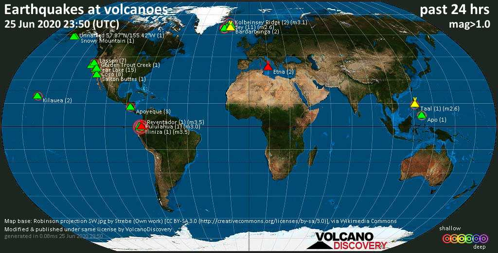 World map showing volcanoes with shallow (less than 20 km) earthquakes within 20 km radius  during the past 24 hours on 25 Jun 2020 Number in brackets indicate nr of quakes.