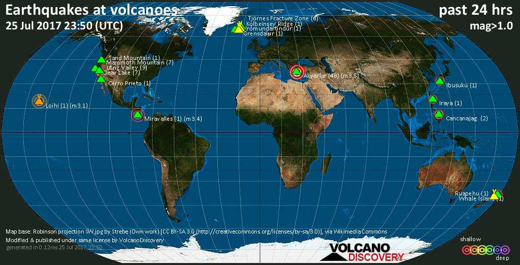 World map showing volcanoes with shallow (less than 20 km) earthquakes within 20 km radius  during the past 24 hours on 25 Jul 2017 Number in brackets indicate nr of quakes.
