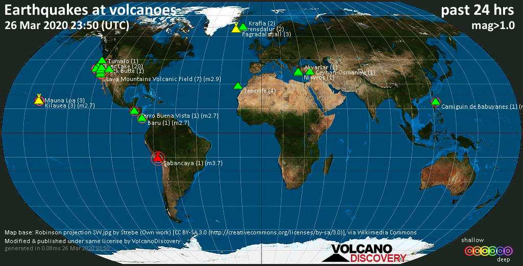 World map showing volcanoes with shallow (less than 20 km) earthquakes within 20 km radius  during the past 24 hours on 26 Mar 2020 Number in brackets indicate nr of quakes.