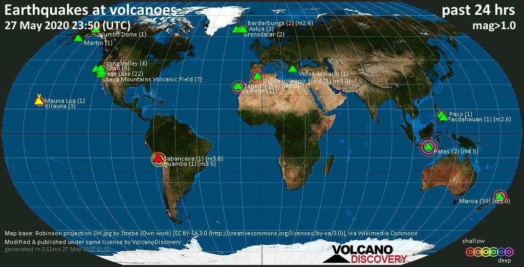World map showing volcanoes with shallow (less than 20 km) earthquakes within 20 km radius  during the past 24 hours on 27 May 2020 Number in brackets indicate nr of quakes.