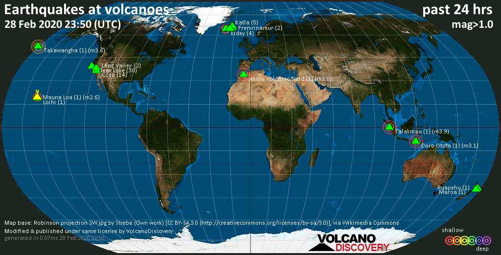 World map showing volcanoes with shallow (less than 20 km) earthquakes within 20 km radius  during the past 24 hours on 28 Feb 2020 Number in brackets indicate nr of quakes.