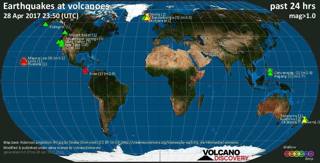World map showing volcanoes with shallow (less than 20 km) earthquakes within 20 km radius  during the past 24 hours on 28 Apr 2017 Number in brackets indicate nr of quakes.