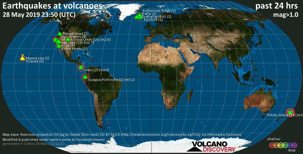 World map showing volcanoes with shallow (less than 20 km) earthquakes within 20 km radius  during the past 24 hours on 28 May 2019 Number in brackets indicate nr of quakes.