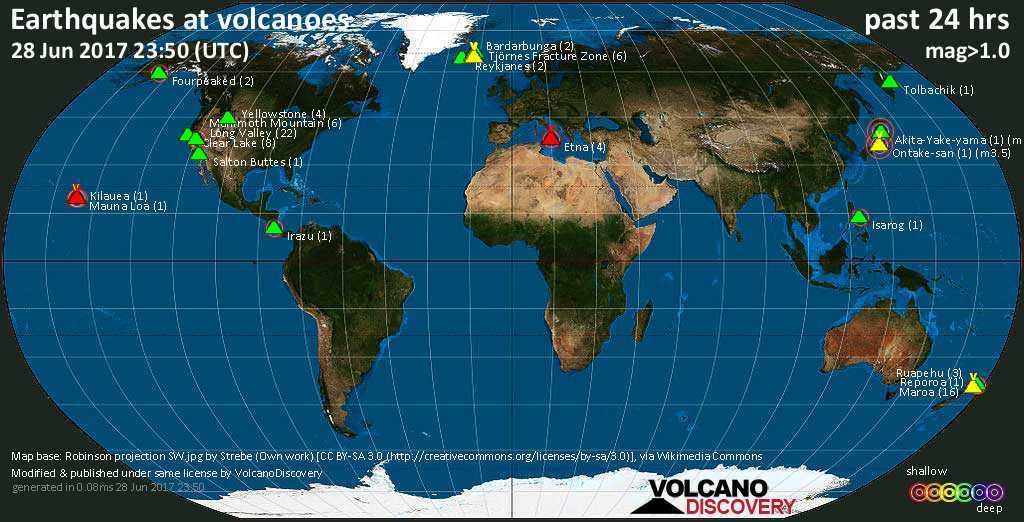 World map showing volcanoes with shallow (less than 20 km) earthquakes within 20 km radius  during the past 24 hours on 28 Jun 2017 Number in brackets indicate nr of quakes.