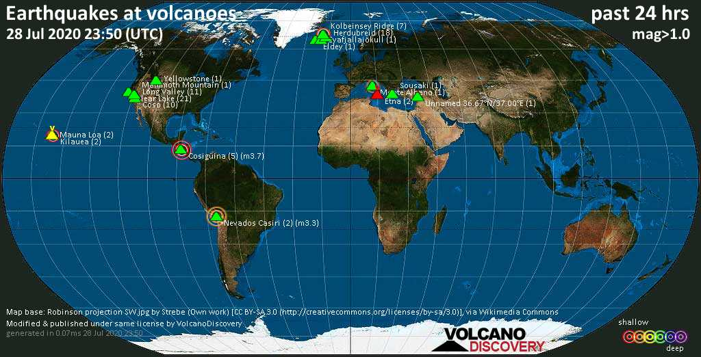 World map showing volcanoes with shallow (less than 20 km) earthquakes within 20 km radius  during the past 24 hours on 28 Jul 2020 Number in brackets indicate nr of quakes.