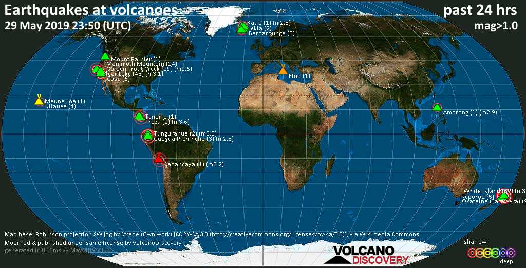 World map showing volcanoes with shallow (less than 20 km) earthquakes within 20 km radius  during the past 24 hours on 29 May 2019 Number in brackets indicate nr of quakes.