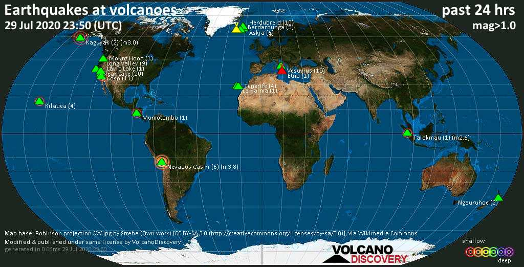 World map showing volcanoes with shallow (less than 20 km) earthquakes within 20 km radius  during the past 24 hours on 29 Jul 2020 Number in brackets indicate nr of quakes.