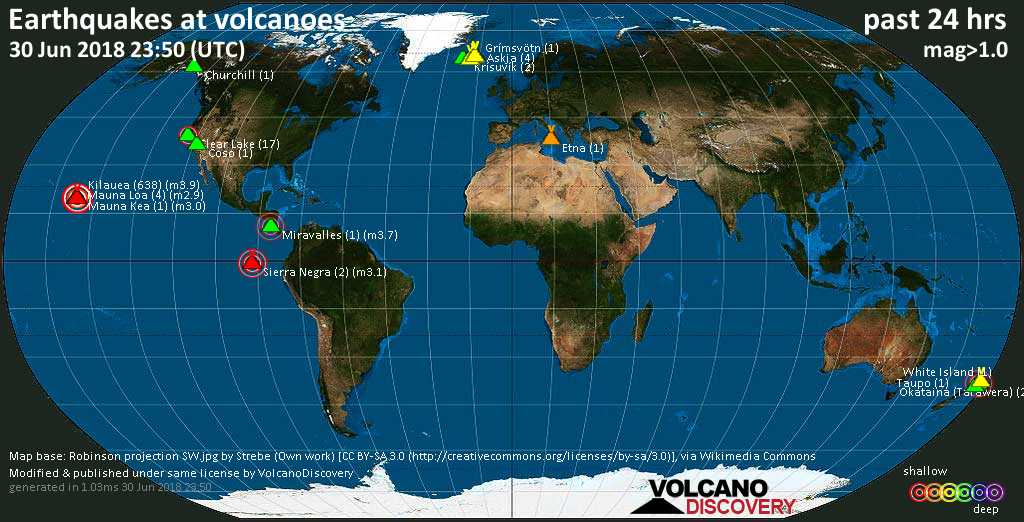 World map showing volcanoes with shallow (less than 20 km) earthquakes within 20 km radius  during the past 24 hours on 30 Jun 2018 Number in brackets indicate nr of quakes.