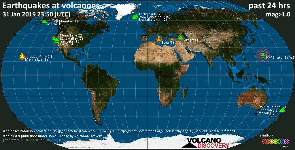 World map showing volcanoes with shallow (less than 20 km) earthquakes within 20 km radius  during the past 24 hours on 31 Jan 2019 Number in brackets indicate nr of quakes.