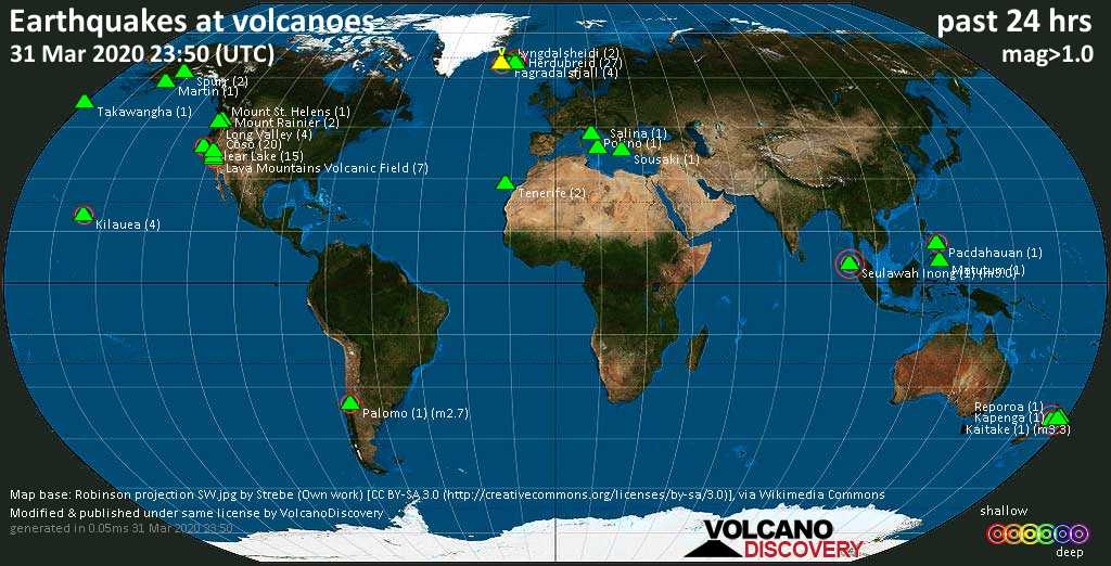 World map showing volcanoes with shallow (less than 20 km) earthquakes within 20 km radius  during the past 24 hours on 31 Mar 2020 Number in brackets indicate nr of quakes.