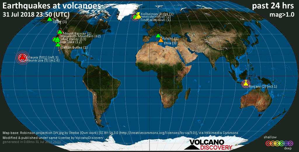 World map showing volcanoes with shallow (less than 20 km) earthquakes within 20 km radius  during the past 24 hours on 31 Jul 2018 Number in brackets indicate nr of quakes.