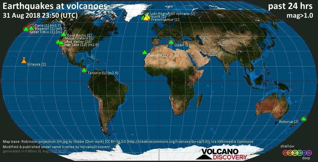 World map showing volcanoes with shallow (less than 20 km) earthquakes within 20 km radius  during the past 24 hours on 31 Aug 2018 Number in brackets indicate nr of quakes.
