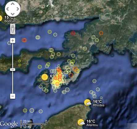 Location of earthquakes during Dec 2012 between Simi and Turkey
