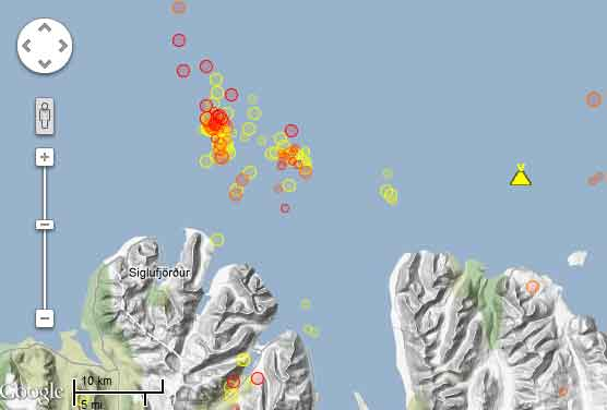 Quakes during the past 7 days (red=during the past 48 hours)