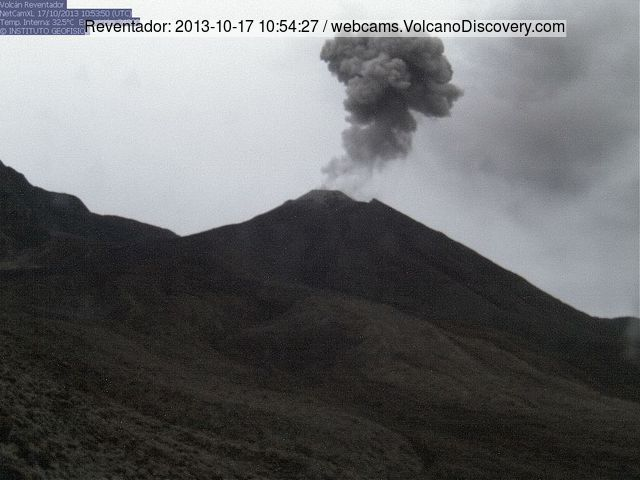 Ash explosion at Reventador volcano this morning