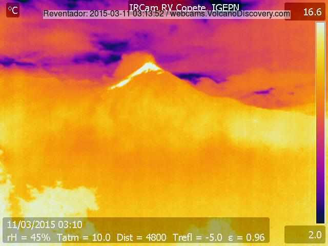 Thermal image of Reventador volcano today