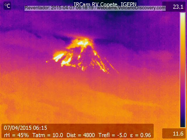 Incandescent material on Reventador volcano, presumably from an eruption this morning