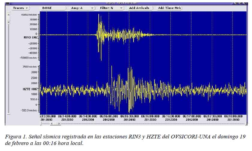Seismic recording of a phreatic explosion at 00:16 local time on 19 February 2012
