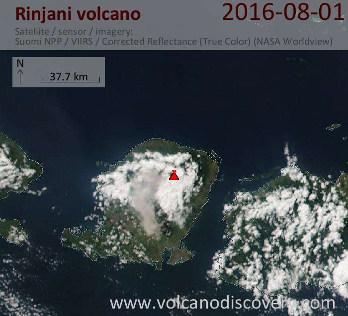 Today's ash plume from Rinjani volcano in Indonesia