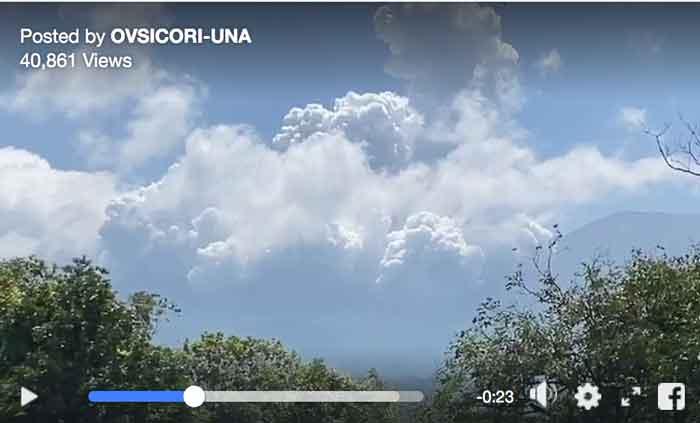 Rincon de la Vieja's eruption on 30 Jan 2020 (image: OVSICORI-UNA)