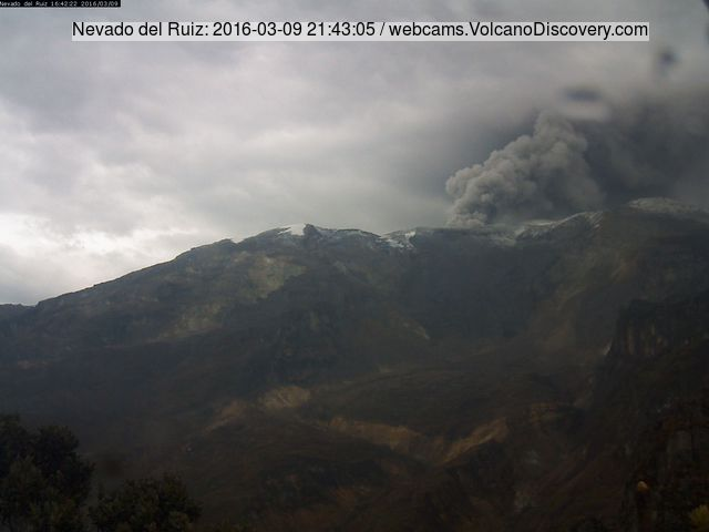Eruption of Nevado del Ruiz yesterday afternoon